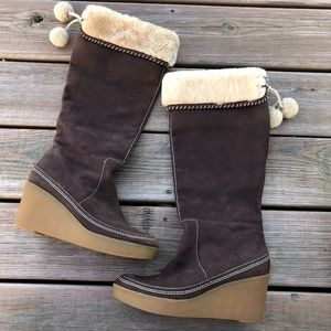 JUICY COUTURE Brown Suede Wedge Snow Winter Boots